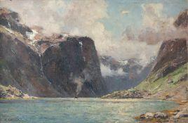Enfield, Henry (London, Berlin 1849-1908/11)Naerofjordim Sommer. Auf dem Wasser Paketboot. Sign.