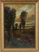 Hassfurth, W. (Berlin, nachweisbar um 1930)Regenlandschaft mit PappelnSign. Malkarton 69×49 cm. R.(