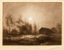 Friedrich, Ludwig (Dresden 1822-1916)Vollmondüber Flusslandschaft mit bewachsenen Ufern und