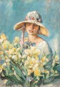 Hollstein, Erwin (Schlochau/Westpreußen, wohl Berlin 1892-1966)Mädchen mit Blütenhutund gelbem