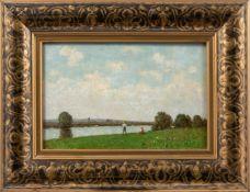 Gietl, Joshua von (München 1847-1922)Sommerliche Flusslandschaft mit angelndem Knaben und Mädchen