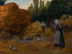 Kallmorgen, Friedrich (Altona, Grötzingen 1856-1924)ErntebetriebInmitten von Stroh, Hühnerschar