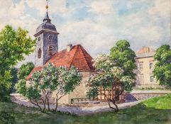 Krecker, Georg (Berlin, 1930 ansässig Platanenallee)DorfkircheSign. Aquarell. 21×27 cm. R. DAZU: