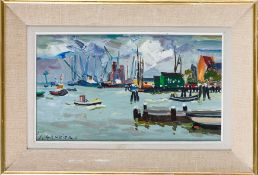 Gambier, Léon (Dieppe 1917-2007)Port AmsterdamSign. u. dat. (19)61. Lwd. 24×44 cm. Rückseitig