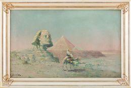 Bouvier, M. (2. H. 19. Jh.)Sphinx und die Pyramiden von GizehSign. Öl auf Lwd. 48,5×78 cm. R.(