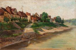 Kiehnle, P. A. (20. Jh.)Dorfhäuser am FlussuferSign. Malkarton. 40×60 cm. R.(54477)Kiehnle, P. A. (