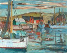 Kindt, Max (Starkenhorst, Berlin 1896-1970)Norwegischer Hafen hinter Dünen mit roten Häusern u.