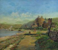 Dubois, Ferdinand (um 1930)Flusslandschaftmit Kirchen, Klosterruine am Ufer und hochgelegener