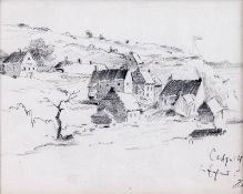 Haid (19. Jh.)Catguith in EnglandDorfansicht. Bleistiftzeichnung. Sign. u. betit. 14×23 cm. Und: