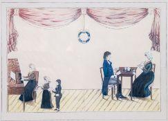 Biedermeierzeichner (1. H. 19. Jh.)FamilienszeneEltern am Kaffeetisch sitzend, während des Singens