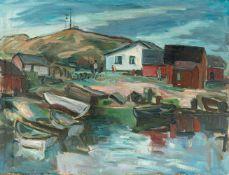 Kindt, Max (Starkenhorst, Berlin 1896-1970)Norwegische Bucht mit an Land gezogenen Booten u. kl.