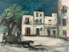 Kindt, Max (Starkenhorst, Berlin 1896-1970)Straße in Schwedenmit weißer Häusergruppe. Starker