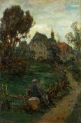Amberg, Wilhelm (Berlin 1822-1899)Beschauliche RastWanderer mit Hund und abgesetzter Kiepe an