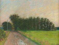 Dänischer Landschaftsmaler (um 1920)Regennasse Landstraße und BüscheSign. u. dat. Pastell. 52×66 cm.