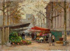 Cortès, Edouard (Lagny-sur-Marne 1882-1969)Marché aux fleurs de la MadeleineSign. Öl auf Holz. 16×