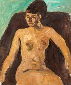 Kindt, Max (Starkenhorst, Berlin 1896-1970)Sitzender weiblicher AktMalkarton. 60×50 cm. Nachlass-