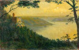 Heyden, Christian (Köln, Düsseldorf 1854-1939)Blick auf Rhein mit Burgruine in gelblichem