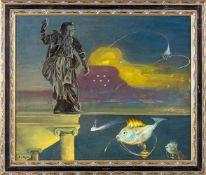Ikier, Fritz von (Köln, Berlin 1888-1964)Weinachten1955Steinerne Heiligenfigur über dem Meer,
