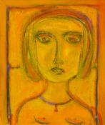 Hertel, Sabine (Berlin, zeitgenössische Künstlerin)Mädchenkopf in GelbSign. Lwd. 60×50 cm. R.