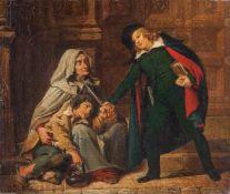 Italienischer Maler, in der Art des Domenico Induno (Mailand 1815-1878)Scholar, einer Bettlerin