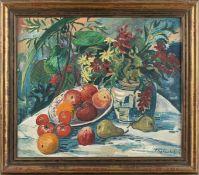 Heckendorf, Franz (Berlin, München 1888-1961)Stillleben mit Früchten auf ovaler TischplatteApfel und