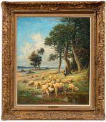 Clair, Charles (1860-1930)Weite Sommerlandschaft an der LoireAn Wasserstelle Schafherde. Sign.