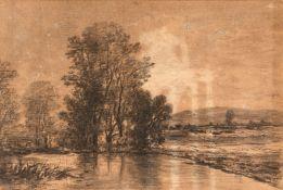 Corot, Camille (Paris 1796-1875) , Art desLandschaft und baumbestandener SeeKohle, teilweise