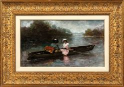 Herrmann, Léo (Paris 1853-1927)Elegant gekleidete Mutter und Tochterin Ruderkahn. Sign. Lwd. 26,5×45