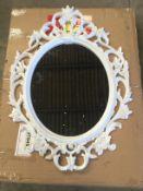 White Plastic Oval Mirror