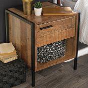 Vintage Wood/Black Hoxton Bedside Cabinet - RRP £69.99