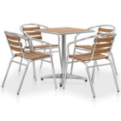 4 Metal and Wood Dining Chairs (CHAIRS ONLY)
