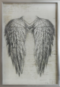 New Angel Wings Silver Metallic With Frame