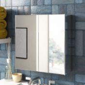 Bathroom Double 45cm x 45cm Recessed Mirror Cabinet - RRP £65.99