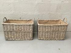 x2 Hessian Lined Wicker Basket