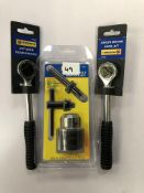 x 2 3/8 quick release ratchet - 3pc drill chuck, adapter & key