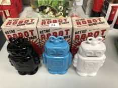 X 3 Retro robot money boxes