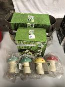 x 6 Vintage planters - garden frog spot light ornament - x 4 decorative mushrooms