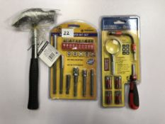 31pc Ratchet screwdriver Set -8oz Claw hammer & screwdriver bit set