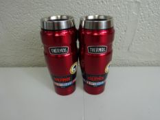 x 2 red stainless steel double wall travel tumblers 470ml - RRP £24.99