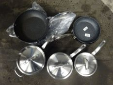 3 CIRCULON POTS & LIDS. 4 NEVER STICK SAUCEPANS (HAVE BEEN USED)