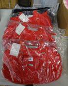 X3 RED HANDBAGS & 1 BLACK HANDBAG