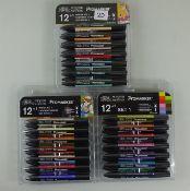 3 pks Winsor & Newton pro marker pens - RRP £32.00 each