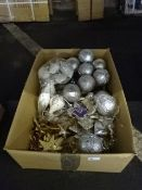 BOX OF NEW VINTAGE XMAS DECORATIONS ASSORTED