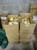 6 BOXES OF NEW VINTAGE GOLD LEAF DESIGN BAUBLES