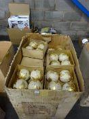 EX LG BOX OF VINTAGE GOLD LEAF DESIGN LG BAUBLES