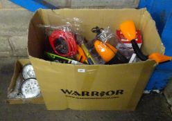 2 BOXES OF CAR LIGHTS, ACCESSORIES & ODDS