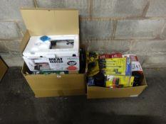 2 BOXES OF TOOLS, WORK LIGHTS, PRESSURE SPRAYS, MEAT MINCER & ODDS