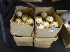 4 BOXES OF NEW VINTAGE GOLD LEAF DESIGN BAUBLES