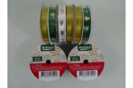 X5 BRAND NEW PACKS OF MELINERA CHRISTMAS RIBBON, 2 DIFFERENT DESIGNS PER A PACK (APPROX 5M EACH)