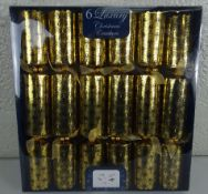 New Box of 6 Gold Christmas Crackers